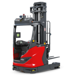 The autonomous R-MATIC reach truck from Linde Material Handling transports and stores and retrieves goods up to 1600kg at lifting heights of up to more than eleven metres.