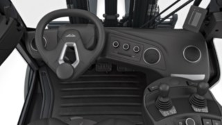 Cockpit of the new forklift truck – off-centre steering wheel