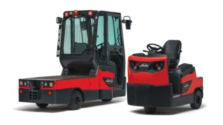 The Linde Material Handling P60 - P80 rider-seated tow tractors and W08 platform trucks