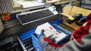Linde genuine spare parts are being packed for customers in the Linde warehouse