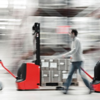 Pallet stacker from Linde Material Handling loaded with goods
