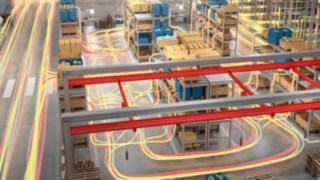 Material flow movements in a warehouse