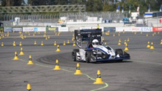 Race cars constructed by the student teams demonstrate their performance at the Hockenheimring
