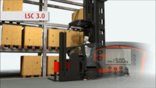 Animation about the functioning of the optionally available Linde System Control (LSC) for Linde very narrow aisle trucks.