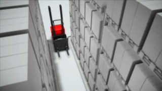 Animation for the aisle safety system optionally available for the V vertical order picker from Linde.